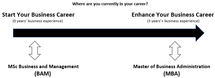 Career pathways with MSc BAM and MBA