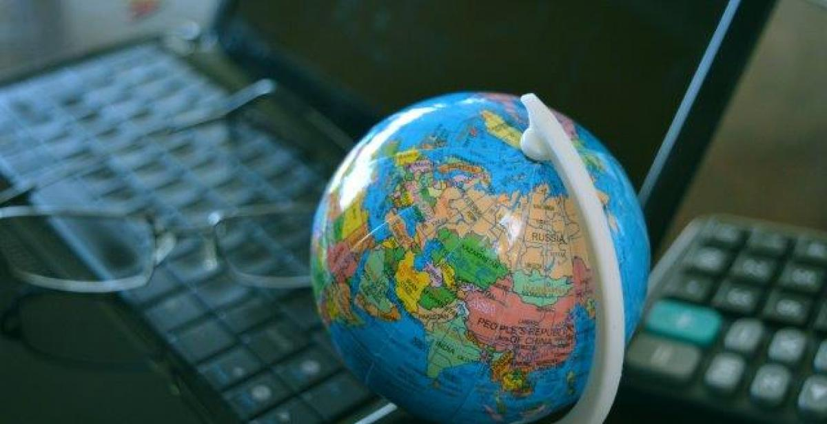 Globe and computer keyboards
